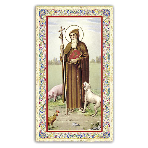 Holy card, Saint Anthony the Abbot, Prayer ITA 10x5 cm 1