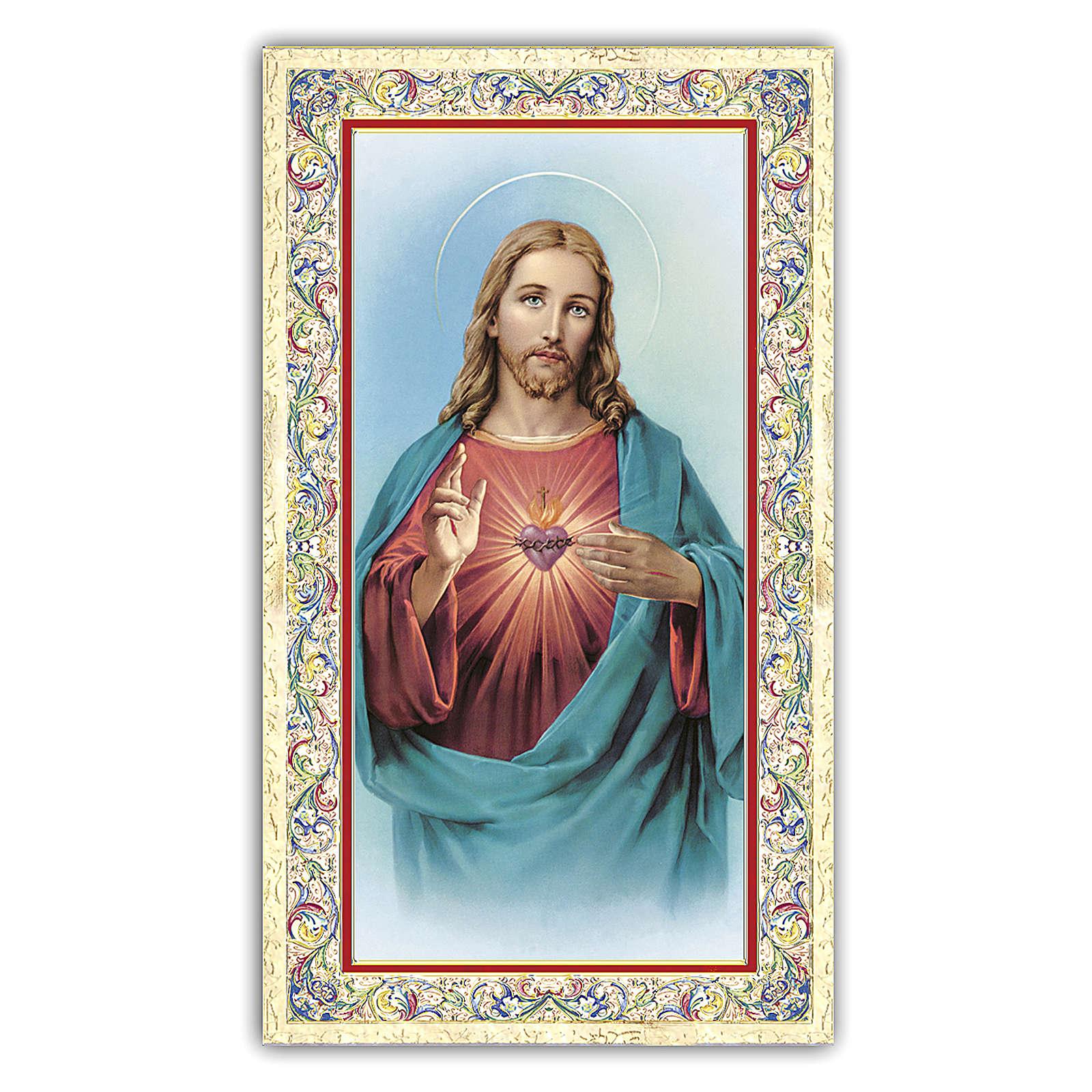 Estampa religiosa Sagrado Corazón de Jesús 10x5 cm oración ITA 4