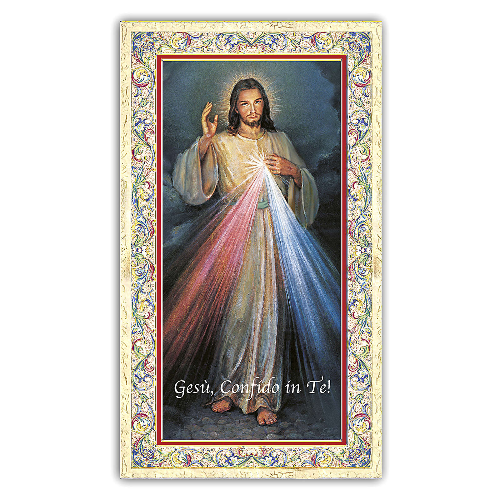 Estampa religiosa Jesús Misericordioso 10x5 cm ITA 4