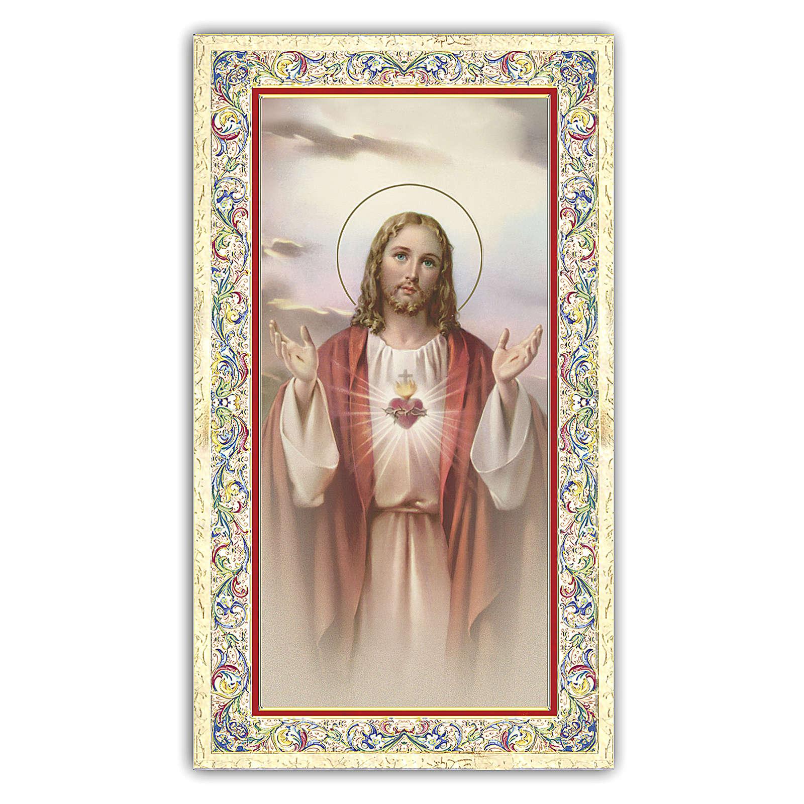 Santino del Sacro Cuore di Gesù 10x5 cm pregh. ITA 4