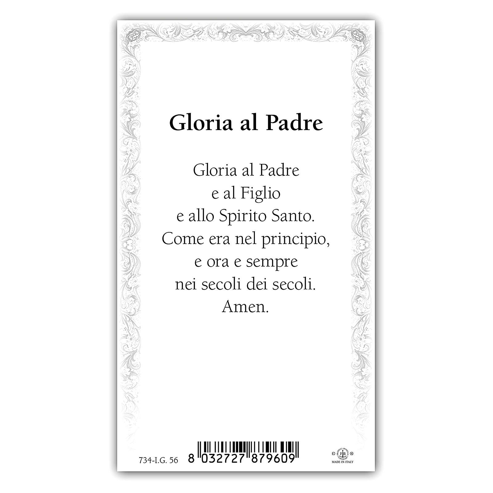 Holy card, Trinity, Glory Be to the Father ITA, 10x5 cm 4