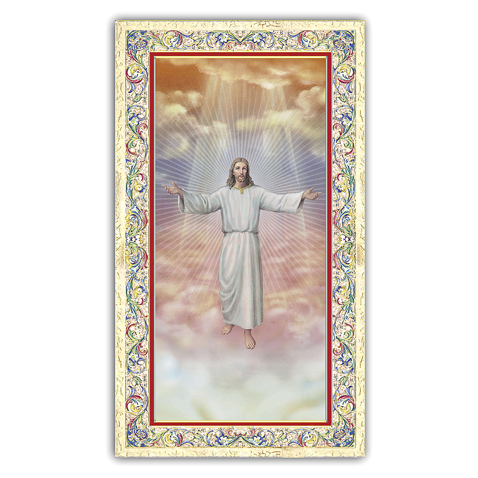 Holy card, Jesus welcoming into Heaven, Beatitudes ITA, 10x5 cm 4