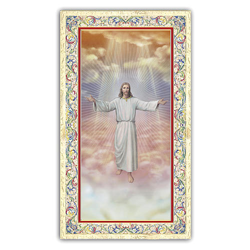 Holy card, Jesus welcoming into Heaven, Beatitudes ITA, 10x5 cm 1