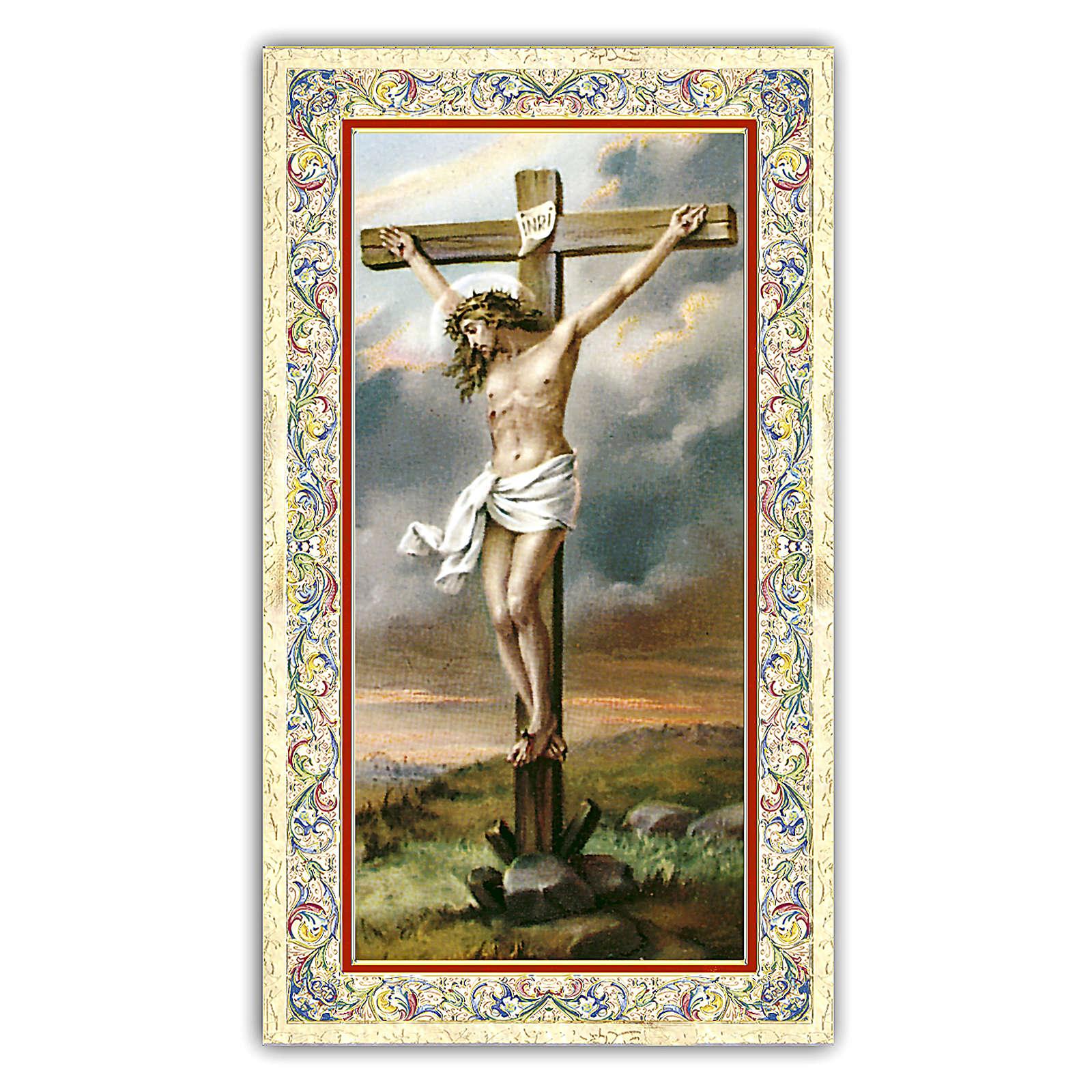 Holy card, Crucifix, Prayer ITA, 10x5 cm 4