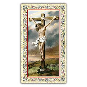 Holy card, Crucifix, Prayer ITA, 10x5 cm s1