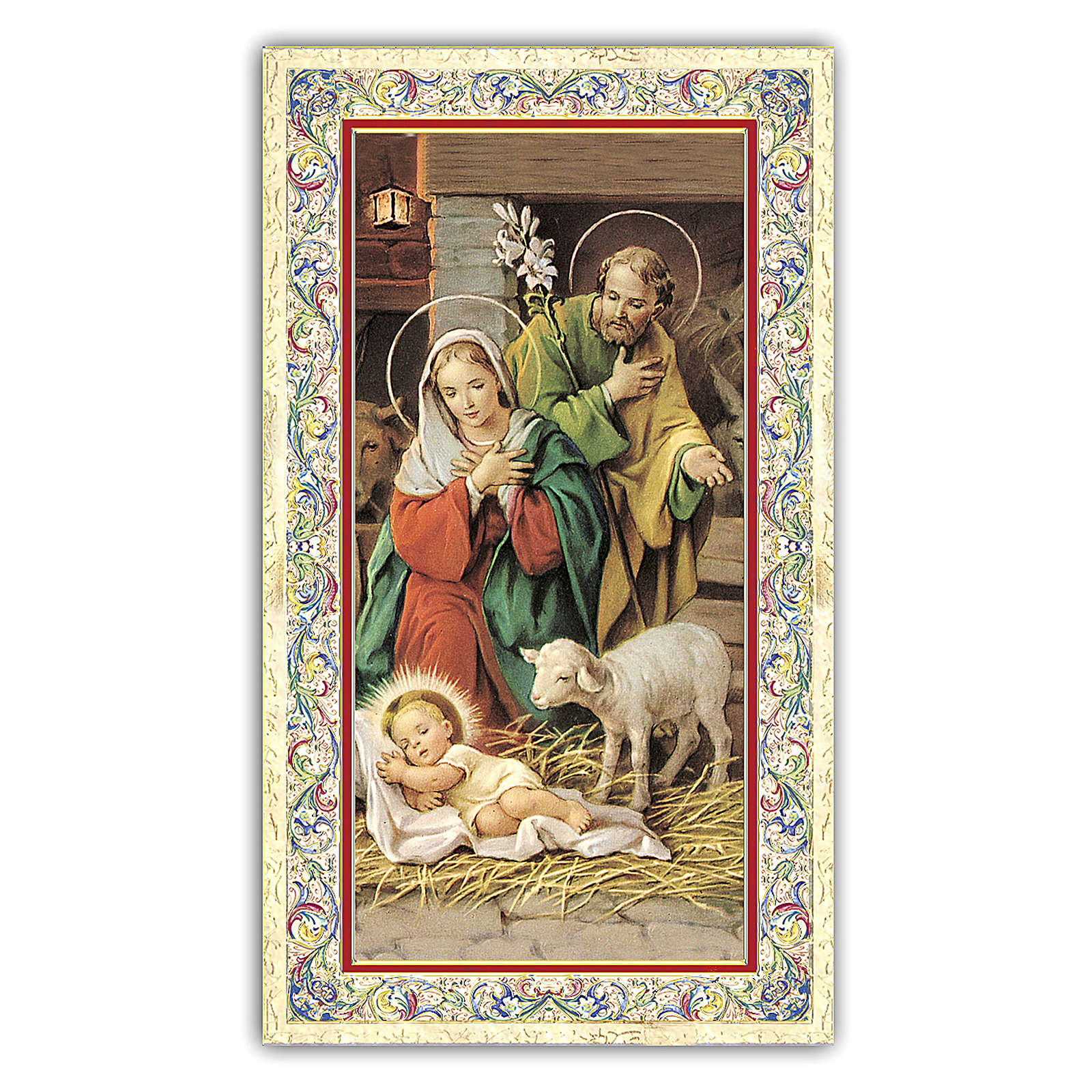 Holy card, Nativity of Christ, Prayer to Infant Jesus ITA, 10x5 cm 4