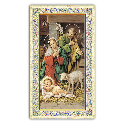 Holy card, Nativity of Christ, Prayer to Infant Jesus ITA, 10x5 cm 1