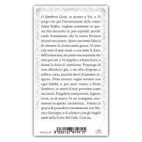 Holy card, Infant Jesus of Prague, Prayer ITA, 10x5 cm s2