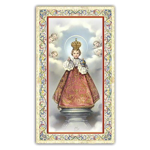 Holy card, Infant Jesus of Prague, Prayer ITA, 10x5 cm 1