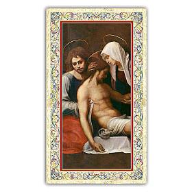 Estampa religiosa Deposición de la cruz 10x5 cm ITA s1
