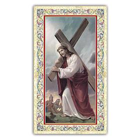 Santino Gesù che porta la Croce 10x5 cm ITA s1