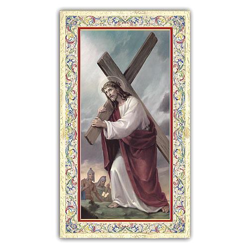 Santino Gesù che porta la Croce 10x5 cm ITA 1
