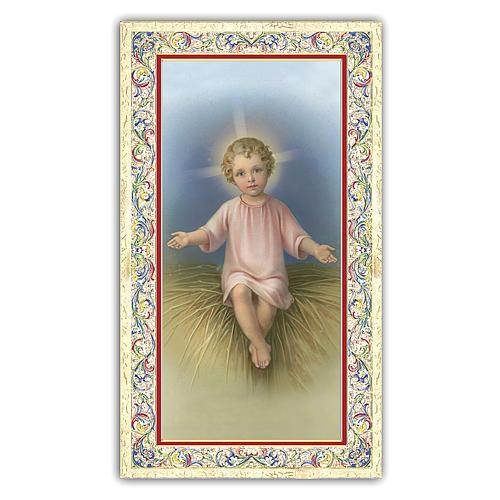 Holy card, Child Jesus in the manger, prayer ITA, 10x5 cm 1