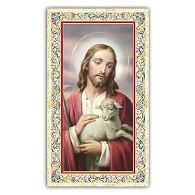 Santino Gesù che accarezza l'Agnello 10x5 cm ITA s1