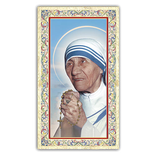 Holy card, Mother Teresa of Calcutta, Life Poem ITA, 10x5 cm 1