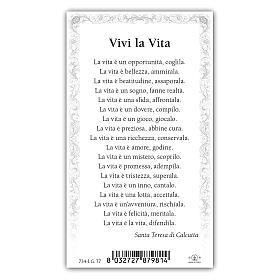 Holy card, Mother Teresa of Calcutta, Life Poem ITA, 10x5 cm s2