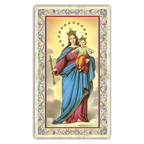 Holy card, Mary Help of Christians, Prayer ITA, 10x5 cm 1