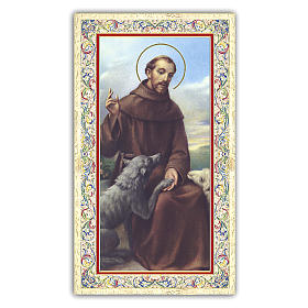 Holy card, Saint Francis of Assisi and the wolf, The Rainbow Bridge poem ITA, 10x5 cm s1