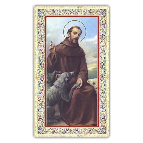 Holy card, Saint Francis of Assisi and the wolf, The Rainbow Bridge poem ITA, 10x5 cm 1