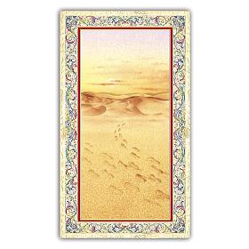 Santino immagine di orme sulla sabbia 10x5 cm ITA s1