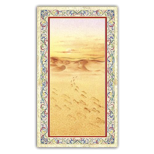 Santino immagine di orme sulla sabbia 10x5 cm ITA 1