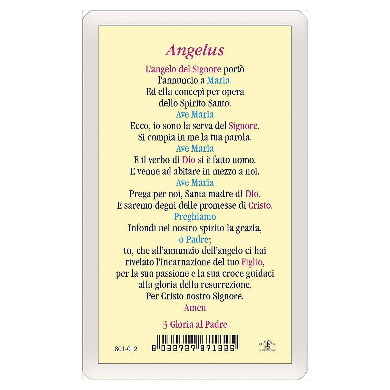 Estampa religiosa Anunciación a María Angelus ITA 10x5 4