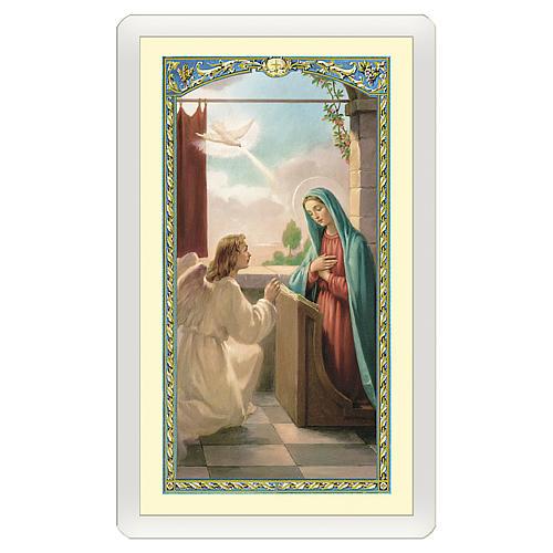 Estampa religiosa Anunciación a María Angelus ITA 10x5 1