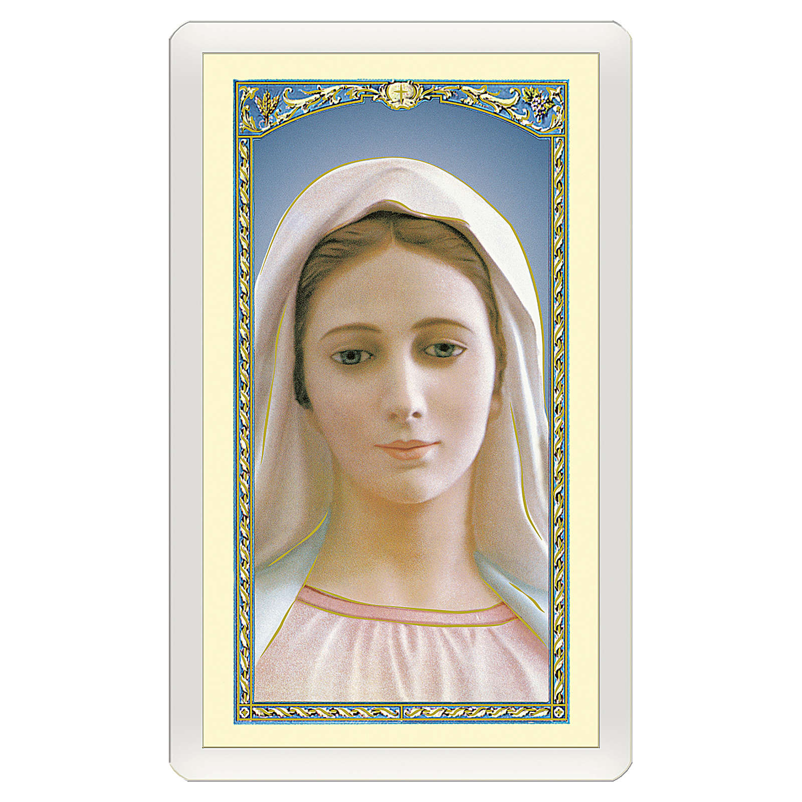 Estampa religiosa Virgen Medjugorje Madre Bondad Amor Misericordia ITA 10x5 4