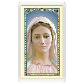Estampa religiosa Virgen Medjugorje Madre Bondad Amor Misericordia ITA 10x5 s1