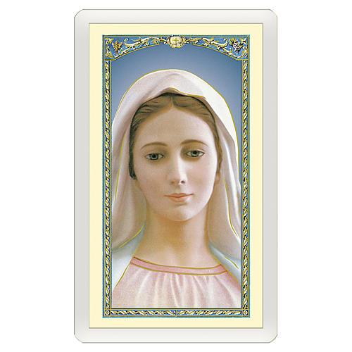 Estampa religiosa Virgen Medjugorje Madre Bondad Amor Misericordia ITA 10x5 1