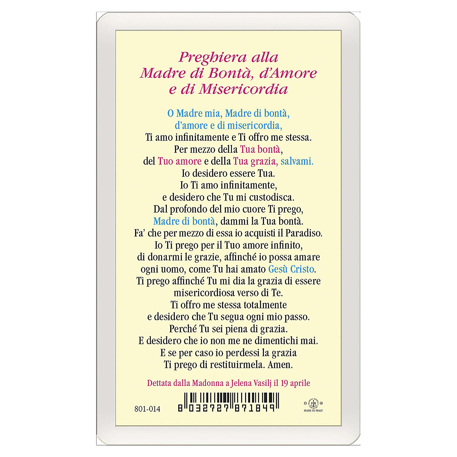 Image pieuse Notre-Dame de Medjugorje Mère de Bonté, amour et miséricorde ITA 10x5 cm 4