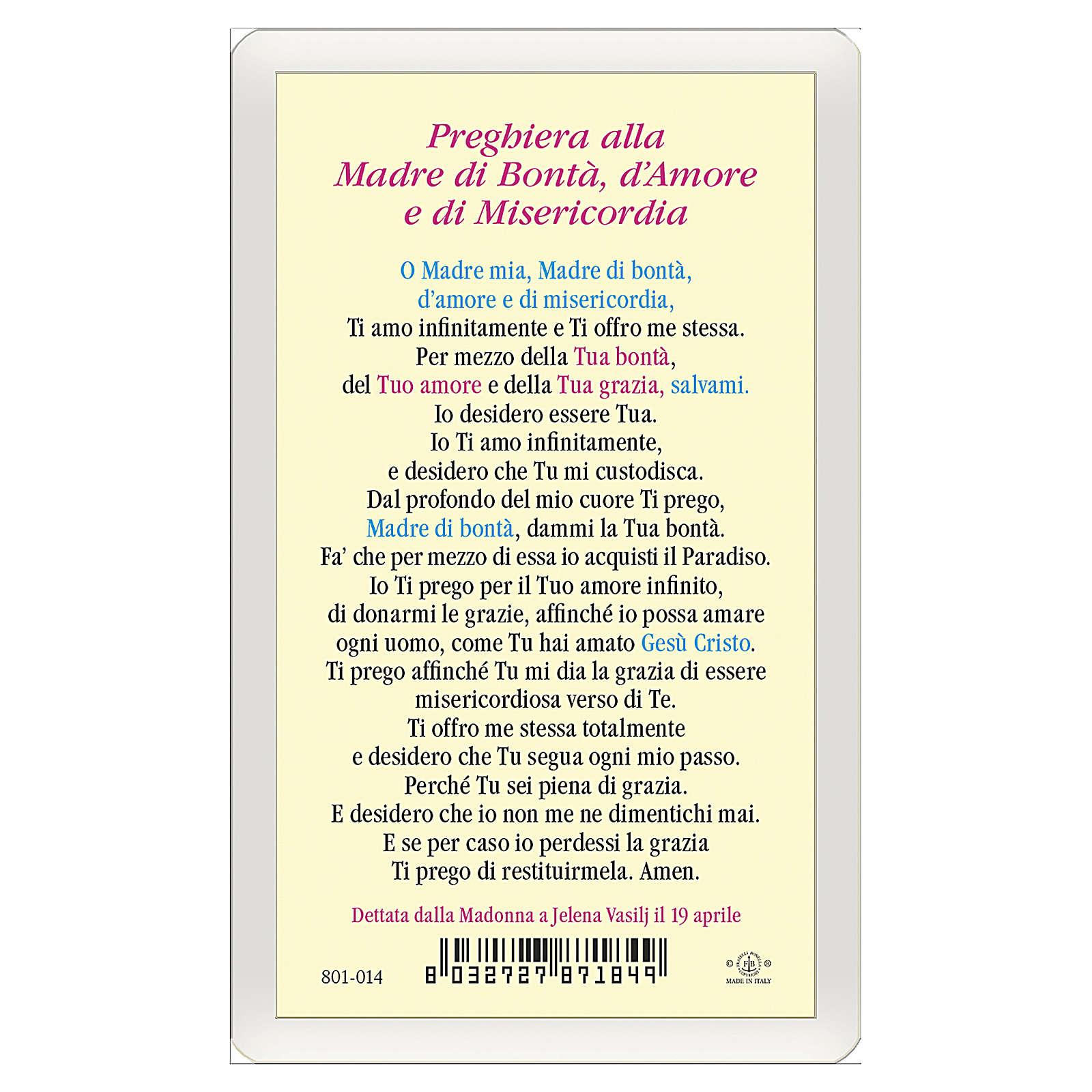 Santino Madonna Medjugorje Madre Bontà Amore Misericordia ITA 10x5 4