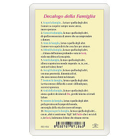 Santino Sacra Famiglia Decalogo della Famiglia ITA 10x5 s2