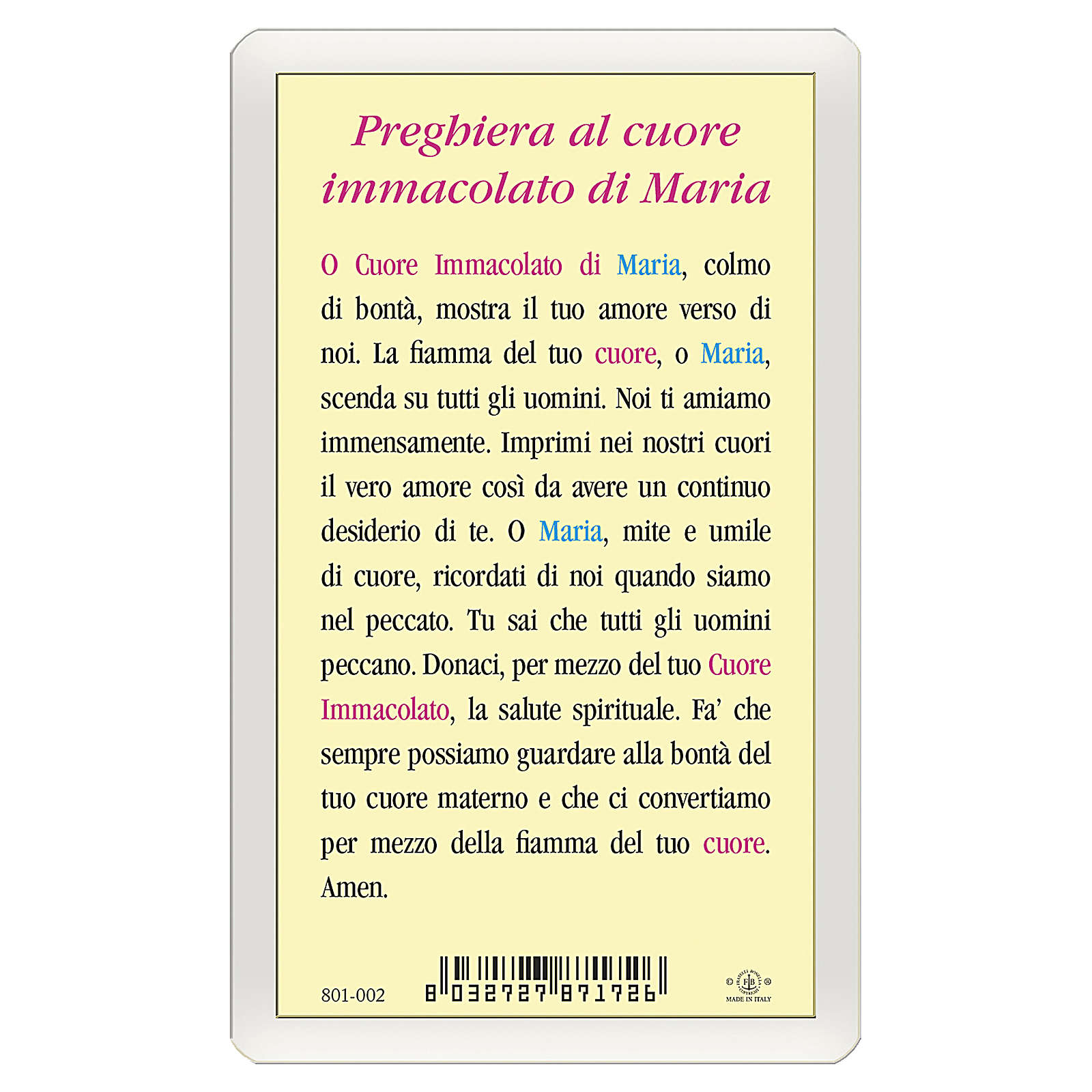 Santino Cuore Immacolato Maria Preghiera ITA 10x5 4