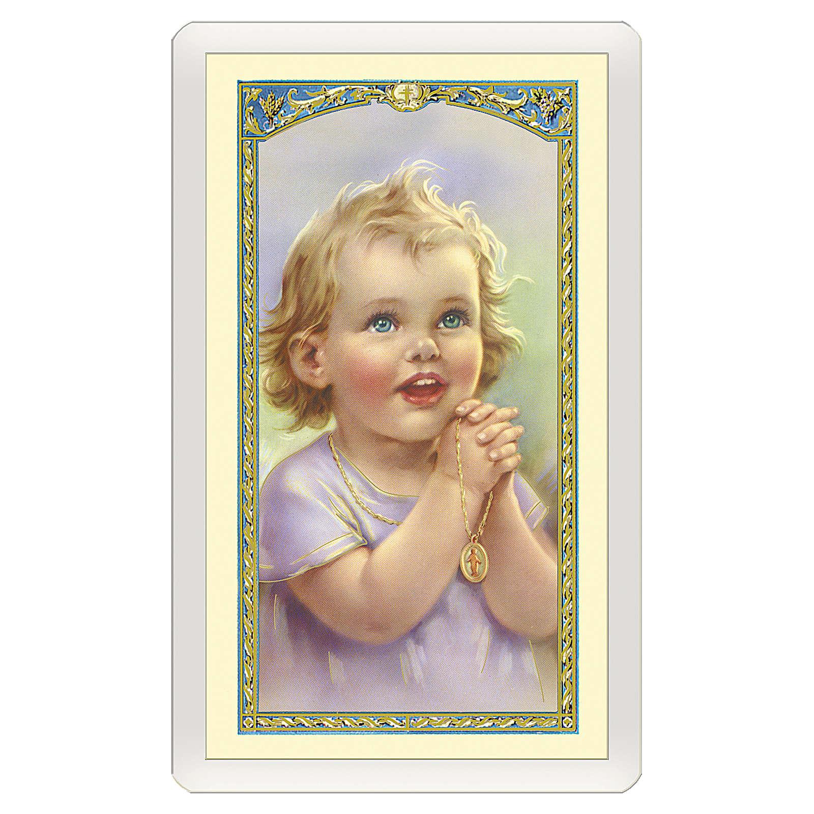 Estampa religiosa Angelito Oración de la Mañana ITA 10x5 4
