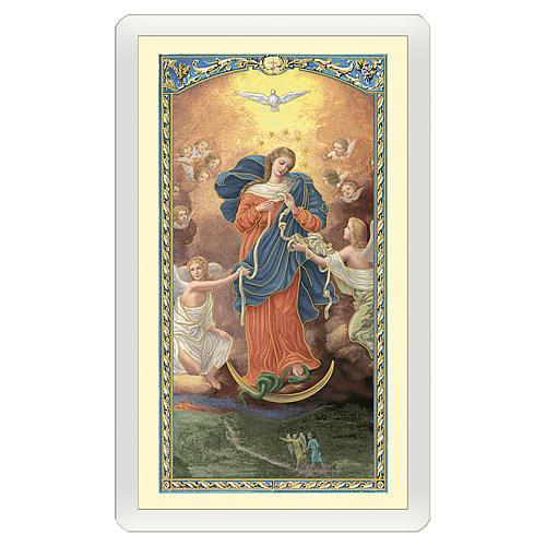 Image pieuse Marie qui défait les noeuds Prière ITA 10x5 cm 1