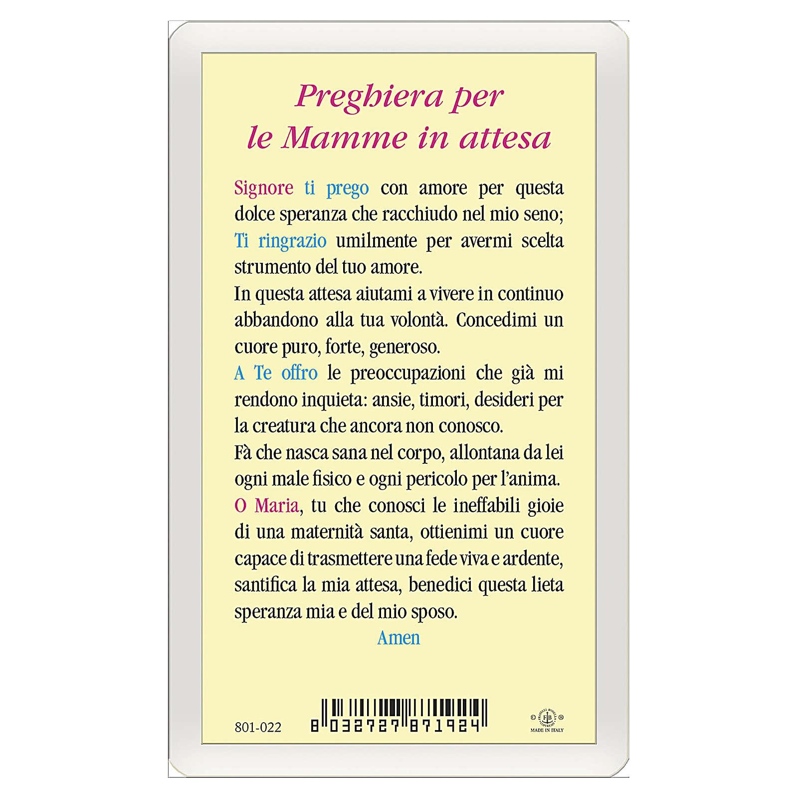 Santino Madonna Bambin Gesù Preghiera per le mamme in attesa ITA 10x5 4