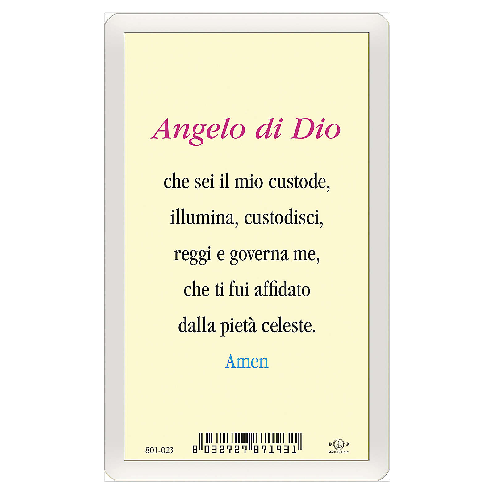 Santino Angelo Custode Angelo di Dio ITA 10x5 4