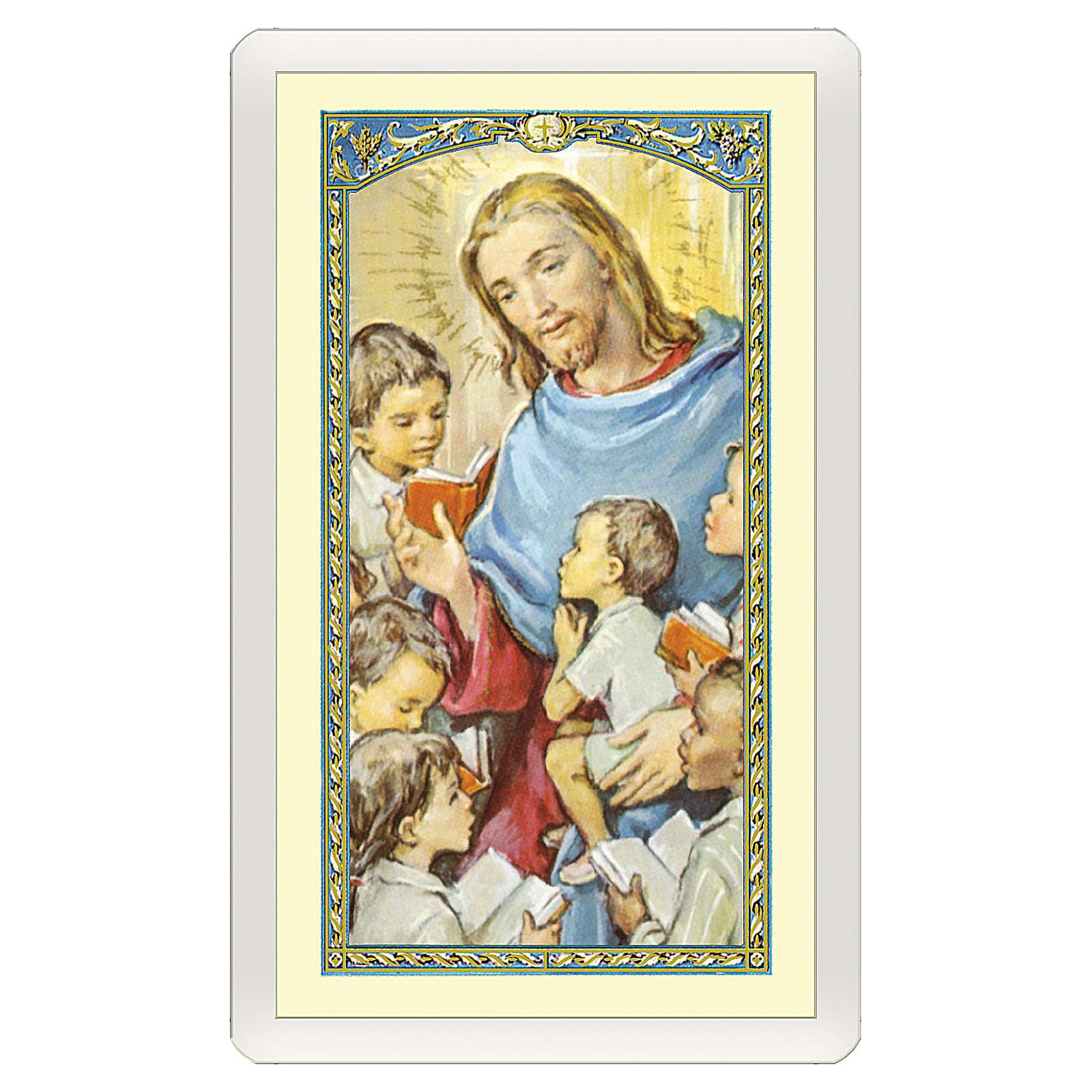 Estampa religiosa Jesús que abraza a los Niños  Oración de los Abuelos ITA 10x5 4