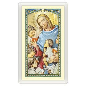 Estampa religiosa Jesús que abraza a los Niños  Oración de los Abuelos ITA 10x5 s1