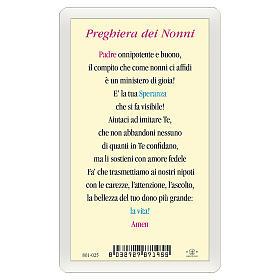 Estampa religiosa Jesús que abraza a los Niños  Oración de los Abuelos ITA 10x5 s2