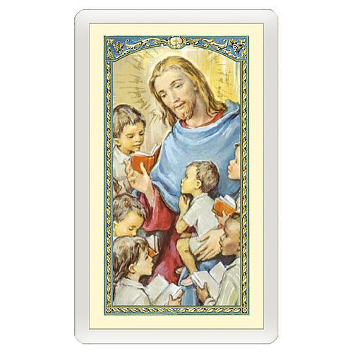 Estampa religiosa Jesús que abraza a los Niños  Oración de los Abuelos ITA 10x5 1