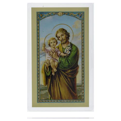 Santino San Giuseppe abbraccia il Bambino Gesù Preghiera ITA 10x5 1