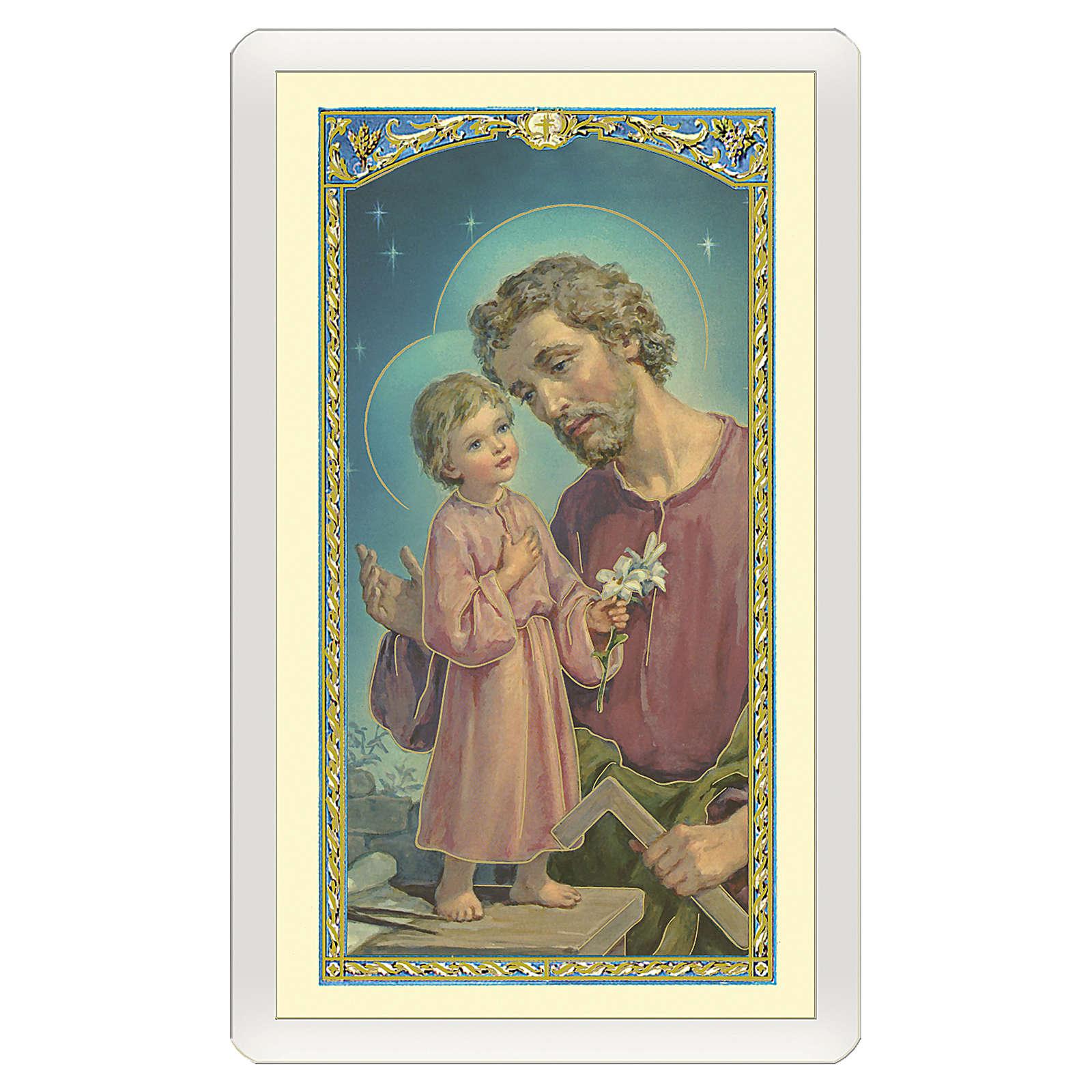 Estampa religiosa San José Trabajador y Jesús con la mesa de trabajo Oración ITA 10x5 4