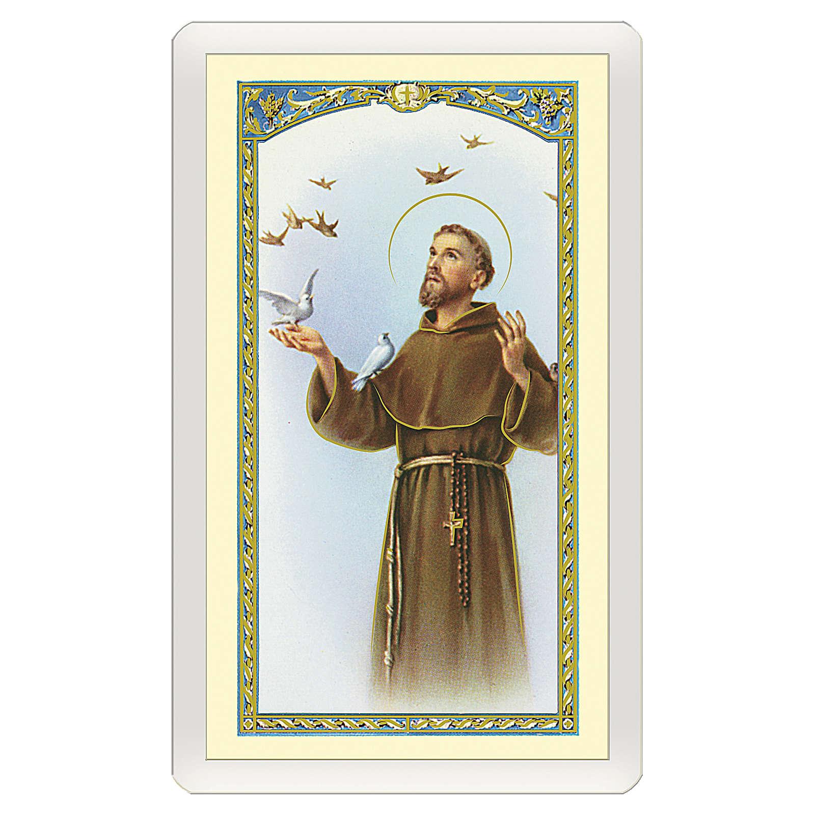 Estampa religiosa San Francisco de Asís con pájaros Cántico de las Criaturas ITA 10x5 4