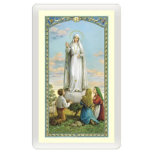 Estampa religiosa Virgen de Fátima Misericordia con los tres Pastores ITA 10x5 1