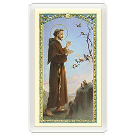 Estampa religiosa San Francisco de Asís predica a los pájaros Oración Simple ITA 10x5