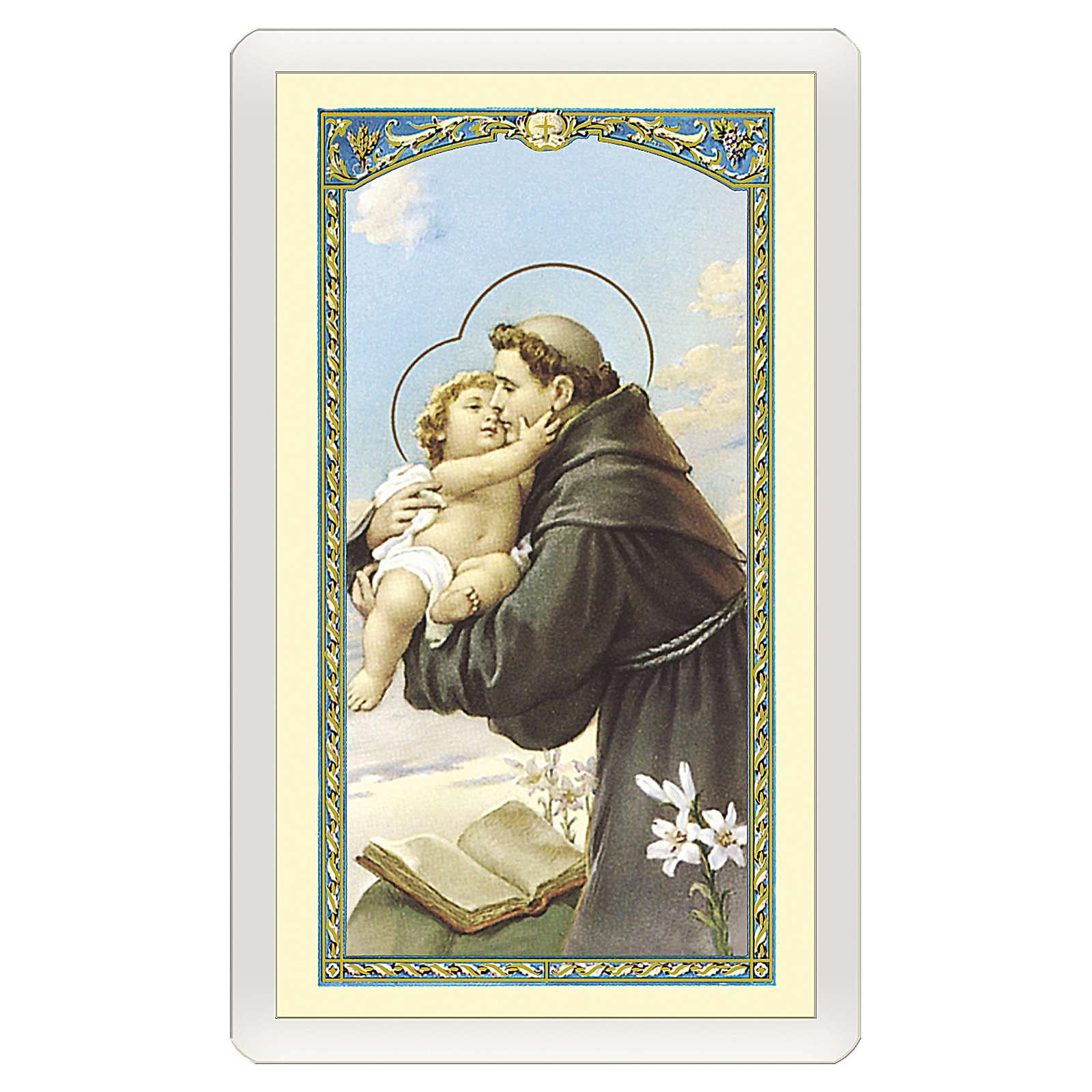 Holy card, Saint Anthony of Padua, Prayer against Temptation ITA 10x5 cm 4