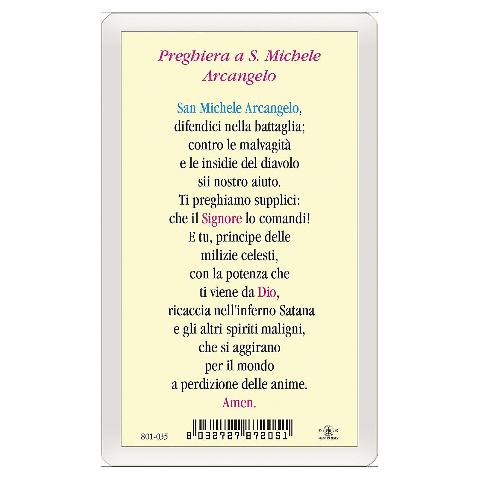 Estampa religiosa San Miguel Arcángel Oración contra el Maléfico ITA 10x5 4