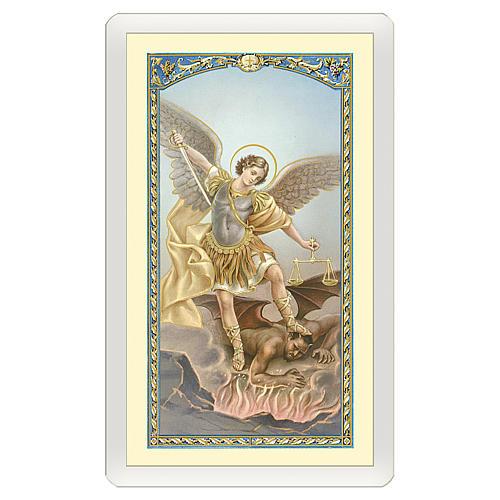 Estampa religiosa San Miguel Arcángel Oración contra el Maléfico ITA 10x5 1